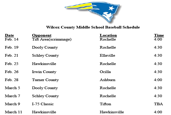 2019 Middle School Baseball Schedule featured image